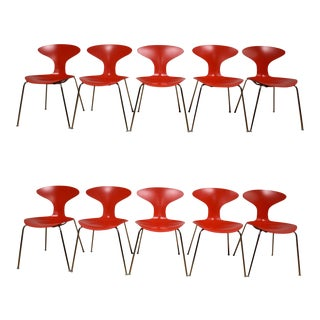 Bernhardt Modern Chrome Red Dining Chairs - Set of 10