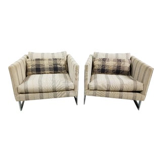 Milo Baughman Style T-Back Chairs - A Pair