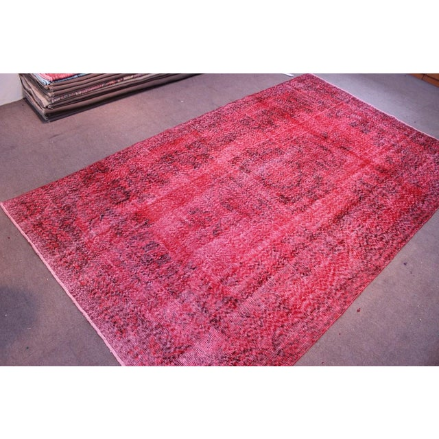 "Vintage Turkish Red Overdyed Rug - 6'2"" X 10'3"" - Image 7 of 8"