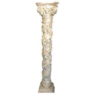 Carved Wood Grape-Wrapped Column