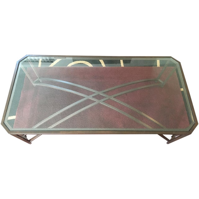 Brown Metal Frame Glass Top Coffee Table Chairish