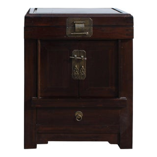 Chinese Brown Top Open Metal Hardware End Table Nightstand