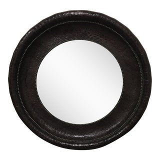 Z Gallerie Round Faux Alligator Clad Mirror