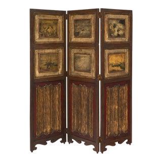 Three-Panel Painted Antique Folding Screen