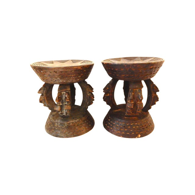 Image of Dogon Stools W/Ancestors Mali - A Pair