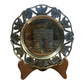 "French Brass Wall Plate ""Paris- Arc De Triomphe"""