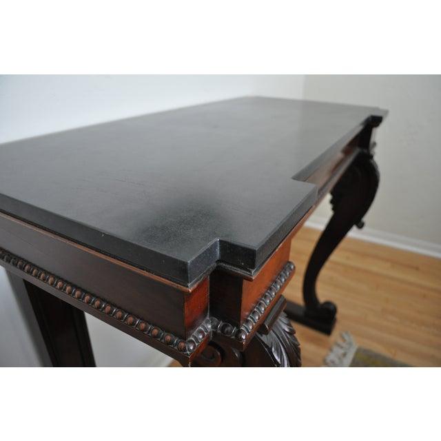 Regency Black Stone & Mahogany Console - Image 5 of 5