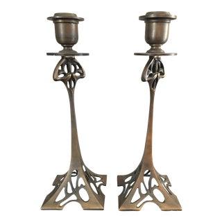 Art Nouveau Bronze Candle Holders