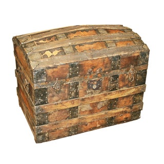 Antique Rustic Camelback Steamer Trunk