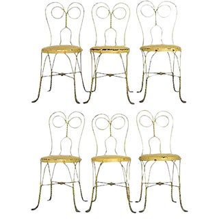 Yellow Parisian Garden Chairs, Set of 6