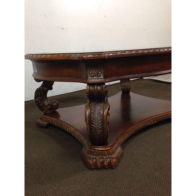 Rococo-Style Carved Mahogany Coffee Table - Image 4 of 7