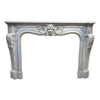 Louis XIV Style Gray Marble Mantel