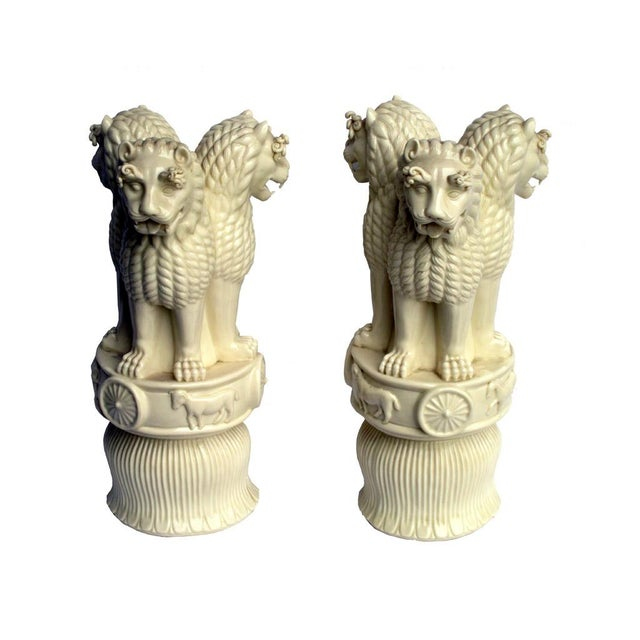 Image of Porcelain Three Heads Lucky Foo Dog Figurines - 2