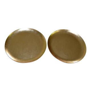 Japanese Gold Foil Lacquer Charger Plates - A Pair