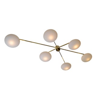 Italian Asymmetric Six Opaline Glass Globe and Brass Chandelier