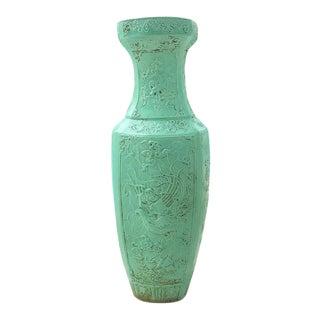 Asian Chinoiserie Ceramic Mint Green Floor Vase