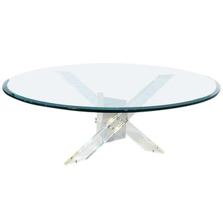 Lucite and Chrome Tripod Coffee Table