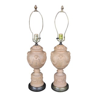 A Pair of Terra Cotta Neoclassical Urn Lamps