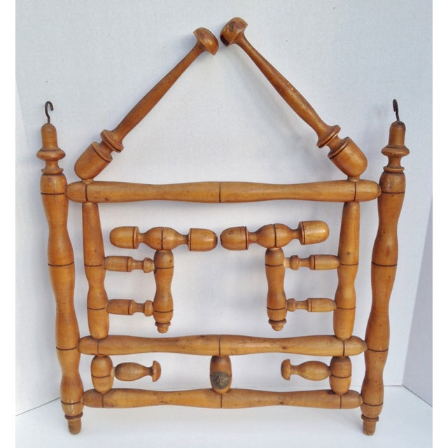 Antique Faux Bamboo Hat and Coat Folding Rack - Image 3 of 7