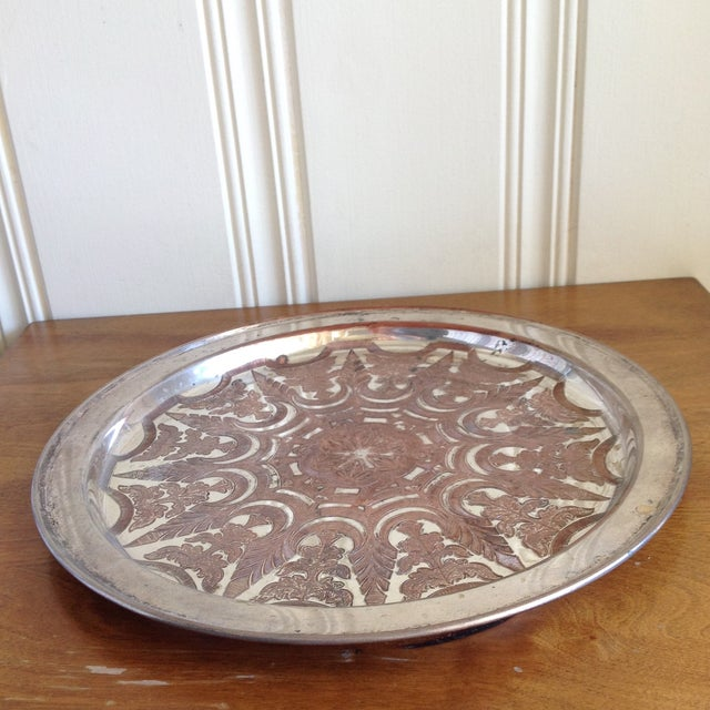 Vintage Moroccan Engraved Patterned Tray - Image 4 of 9