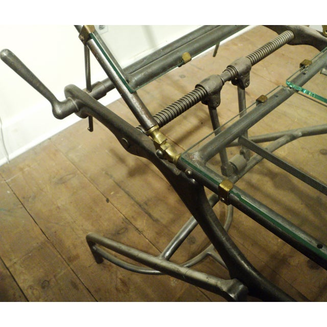 Antique Industrial Metal Glass Medical Chair Table - Image 9 of 11