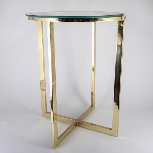 Glass brass round side table chairish for 0co om cca 9 source table