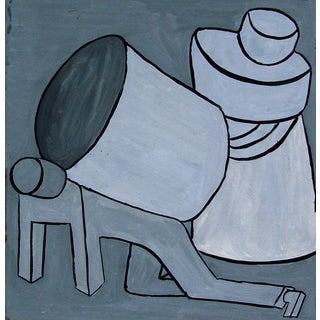 Mid-Century Gray Abstract Figure Study Painting