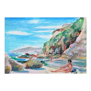 Vintage Pastel Drawing of Secluded Beach