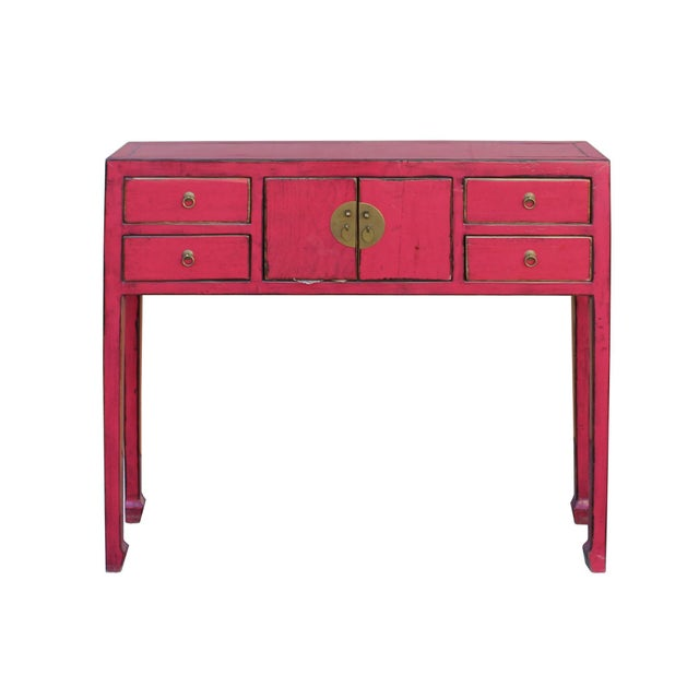 Chinese distressed bright pink narrow slim foyer side for 10 wide end table