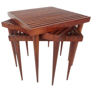 Mid-Century Modern Walnut Slat Top Nesting Tables - Set of 3