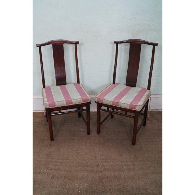 Baker Asian Mahogany Dining Chairs - Set of 8 - Image 2 of 10