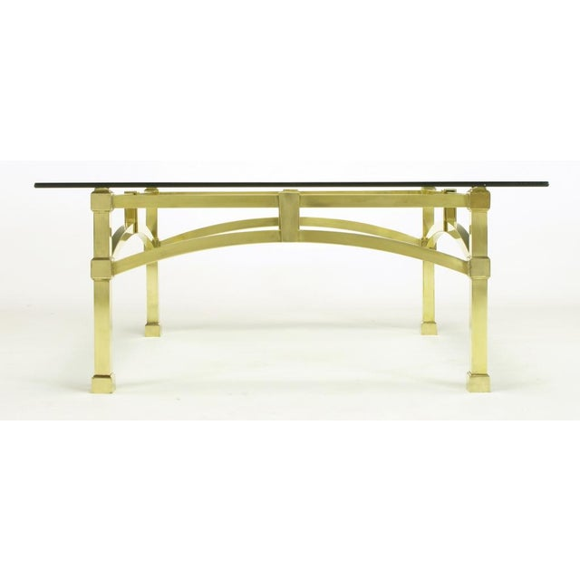 Italian Postmodern Architectural Brass & Glass Coffee Table - Image 6 of 10