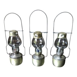 Vintage Small Glass Lanterns - Set of 3