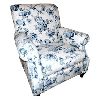 Ethan Allen Blue and White Floral Avery Chair