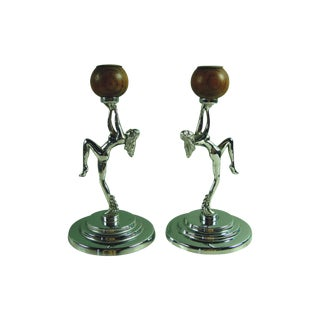 Antique Deco Chrome Nude Candleholders - A Pair