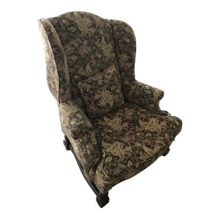 Antique Floral Tapestry Upholstered Wingback Armchair