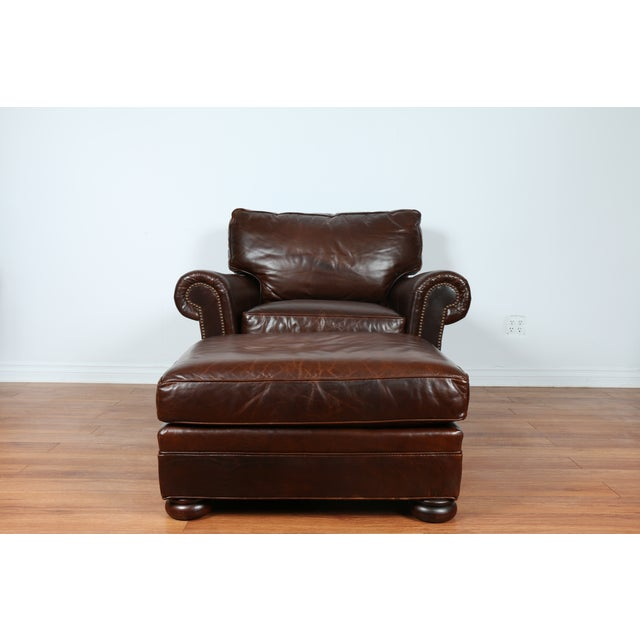 Brown Leather Chair With Ottoman - Image 3 of 11