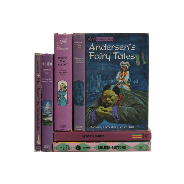 """Midcentury Book Gift Set: """"Lilac"""" Stories For Girls - Set of 6 - Image 3 of 5"""
