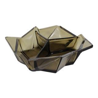 Rare Ruba Rombic Art Deco Smoky Topaz Glass Bon Bon Dish