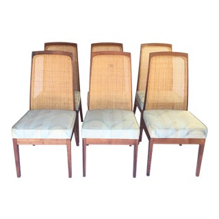 Brown Saltman Walnut & Cane Dining Chairs - Set of 6