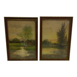 """""""Village Scenes"""" Water Color Paintings - Pair"""