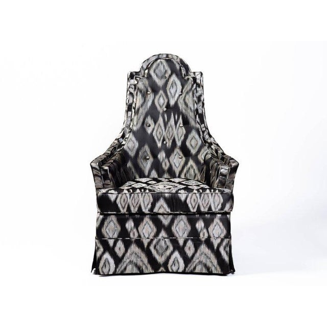 Pair of Hollywood Regency Lounge Chairs in Graphic Ikat Silk - Image 3 of 9