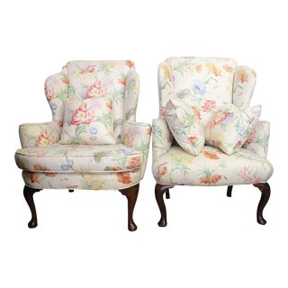 George II Walnut and Floral Upholstered Wing Chairs - a Pair