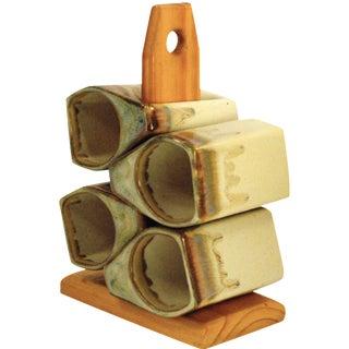 Padilla Stoneware Mugs with Stand - Set of 4