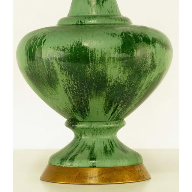 Large Green Pottery Urn Form Table Lamp With Custom Shade - Image 5 of 6