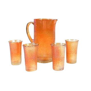 Marigold Carnival Pitcher & Glasses - Set of 5