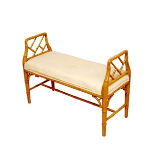 Hollywood Regency Faux Bamboo Chippendale Bench