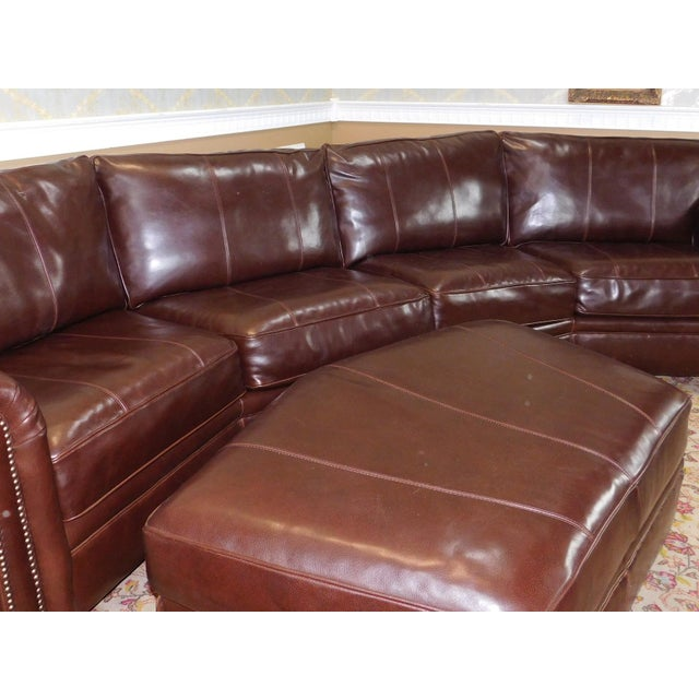 3 piece bernhardt brown leather sectional sofa ottoman for 3 piece brown leather sectional sofa