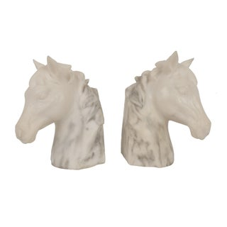 Marble Horse Bookends - A Pair