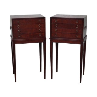 Mahogany Pair of Hepplewhite Style Silver Chests